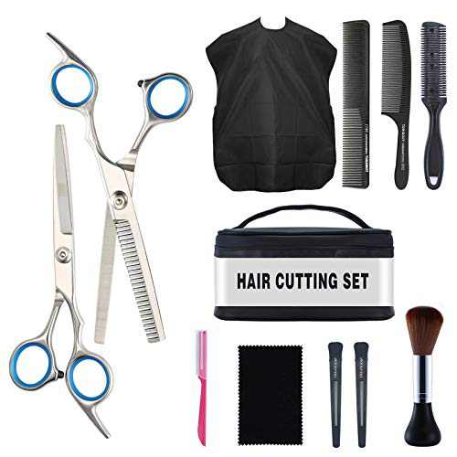 Home Hair Cutting Scissors Professional Kit, MOETYANG 12 Pcs Hair Cutting Scissors Set Stainless Steel for Women/Men, Barber Haircut Shears with Thinning Scissors, Hair Trimming Scissors Set for Salon