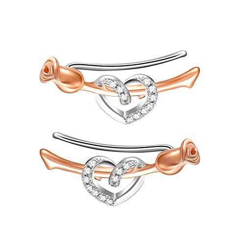 SNZM Sterling Silver Earrings Clip On with Heart Rose Earrings Jewelry for Women Mom Birthday Christmas Gifts
