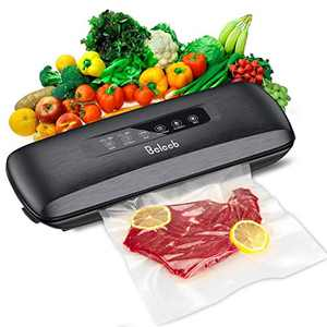 Beleeb Vacuum Sealer Machine, Automatic Food Sealer with 10 Pre-cut Bags for Food Savers, Compact Design | Lab Tested | Dry & Moist Food Modes | Led Indicator Lights | Cutting Knife