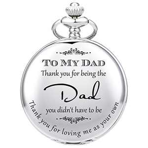 SIBOSUN Pocket Watch Men Personalized Dad Gift Pocket Watch for Father in Law, Stepdad Thank You for Loving Me As Your Own Thank You for Being The Dad Quartz Gifts from Daughter Child Silver