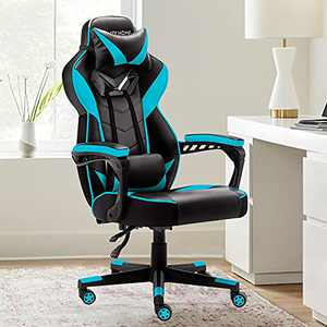 Bonzy Home Gaming Chair Office Chair High Back Computer Chair PU Leather Desk Chair PC Racing Executive Ergonomic Adjustable Swivel Task Chair with Headrest and Lumbar Support (Hatsune Green)