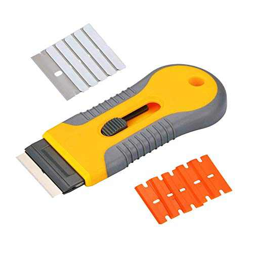 Glass Scraper Razor Scraper Set,Hob Scraper Retractable, Paint Stripping Tool, Cleaning Tool for Removing Labels, Stickers, Decals, Paint from Glass and Stovetop with 5pcs Extra Blades