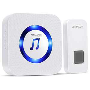 Wireless Doorbell, AIMASON 1300ft Remote Door Bells, Waterproof IP55 Door Chime Kit with 5-Level Volume, 55 Chimes & Blue Light, 1 Plug-in Receiver for Home (white)
