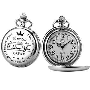 Pocket Watch Men Personalized Chain SIBOSUN Quartz from Son Daughter Child to DAD Engraved (5 Black Numerals, Silver Cover)