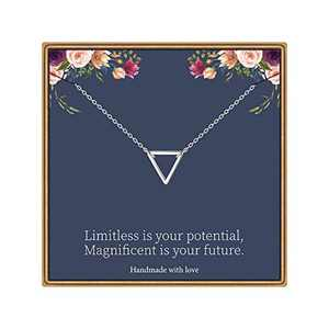 MONOOC 2020 Graduation Gifts, Graduation Necklace Jewelry 14K White Gold Plated Triangle Necklace for Women Limitless Your Potentia Necklace for Graduates
