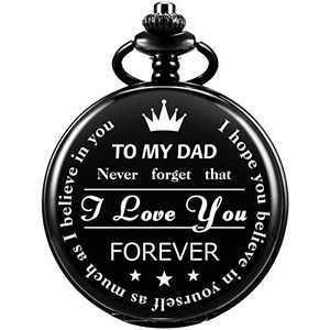 SIBOSUN Pocket Watch Men Personalized Chain Quartz from Son Daughter Child to DAD Engraved
