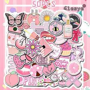 50 Pcs VSCO Pink Cute Cool Waterproof Stickers for Hydro Flask, Water Bottle, Laptop, MacBook Car Bike Bumper Skateboard Suitable for Adults,Kids,Girls,Teens,Movie Fans,Women,Boys