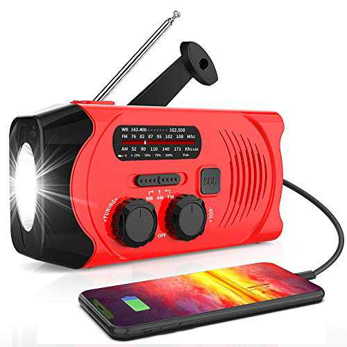 【2021 Newest Version】RegeMoudal Emergency Solar Hand Crank Radio, NOAA Weather Radio for Emergency with AM/FM, LED Flashlight, 2000mAh Power Bank and SOS Alarm,USB Mobile Phone Charger(Red)