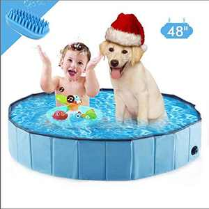 """Western Home Foldable Dog Pools ,48"""" Plastic Kiddie Pool & Collapsible Dog Swimming Pools for Large Dogs, Portable Bathtub Pet Swimming Pool"""