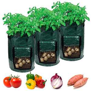 Garden4Ever Potato Planter Bags 3-Pack 7 Gallon Grow Bags Aeration Tomato Plant Pots Container with Flap and Handles