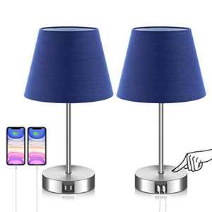 FAGUANGAO Touch Control Table Lamp Navy Blue,3 Way Dimmable,2 USB Charging Ports,Bedside Table Lamps,Nightstand Lamp for Bedroom, Living Room ,Nursery Dorm or Office,2pack (Bulb Included)