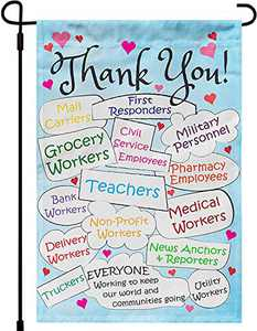 Thank You First Responders Heroes Truckers News Anchor Reporters Essential Workers Employees Positive House Garden Flag Burlap Double Sided Yard Outdoor Decoration 12.5 x 18 Inch