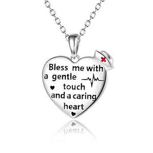 Nurse Necklace Sterling Silver Love Necklace Doctor Care Jewelry Heartbeat Necklace Pendant Gift for Women