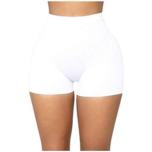 RINKOUa High Waisted Leggings Shorts for Women, Workout Yoga Pants,Tummy Control, Stretch Compression Yoga Leggings,Solid Color Jogger Pants for Running Sport Fitness (L/8, White)