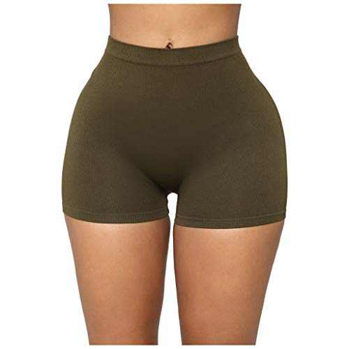 RINKOUa High Waisted Leggings Shorts for Women, Workout Yoga Pants,Tummy Control, Stretch Compression Yoga Leggings,Solid Color Jogger Pants for Running Sport Fitness (L/8, Army Green)