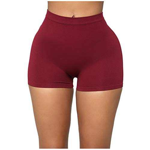 RINKOUa High Waisted Leggings Shorts for Women, Workout Yoga Pants,Tummy Control, Stretch Compression Yoga Leggings,Solid Color Jogger Pants for Running Sport Fitness (5XL/18, Wine)