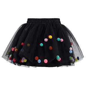 Meeyou Little Girls' 3 Layers Tutu Skirt with 3D Pom Pom Puff Balls (5-6 Tall, Black)