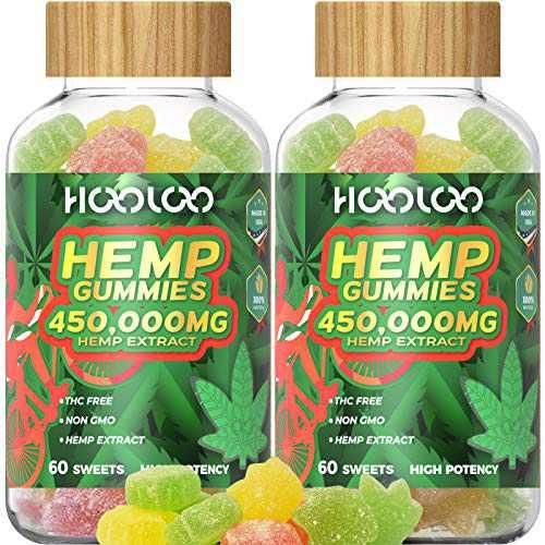 2 Pack Hemp Gummies, HOOLOO 450,000MG Fruity Hemp Gummy for Relaxing, Reduce Stress Anxiety, Sleep Better, Natural Hemp Extract Gummies, Made in USA