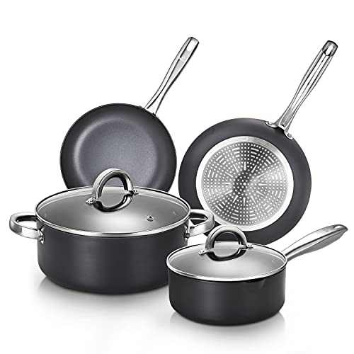 KUTIME Hard-Anodized Pots and Pans Set 9pcs Cookware Set Nonstick Fry pans for Cooking, Stock Pot, Saucepan with Lid, Frying Pan Set, Gas, Induction Compatible, Oven Safe
