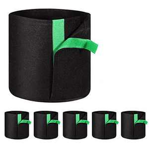 Delxo 5-Pack 1 Gallon Grow Bags Heavy Duty Aeration Fabric Pots Thickened Nonwoven Fabric Pots Plant Grow Bags
