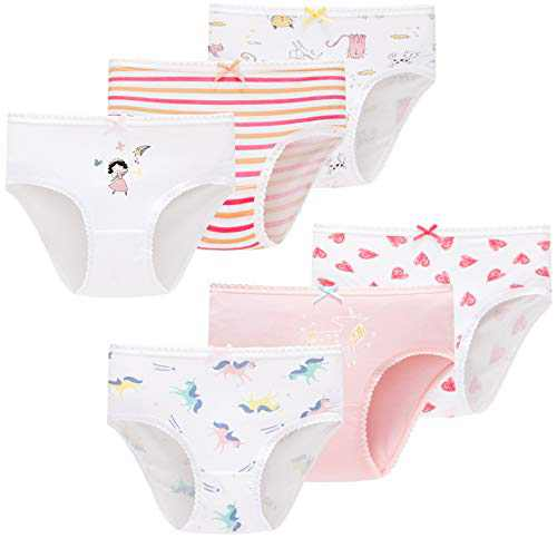 Girls Soft Cotton Panties Little Kids Breathable Cute Underwear (Pack of 6)