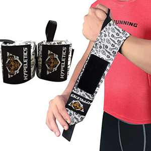 HYPELETICS Wrist Wraps for Weightlifting - Wrist Support for Workouts (Competition Grade) - 18 Inch Weight Lifting Wrist Wrap - Wrist Wraps for Workout, Wrist Pain, Wrist Brace (Black White/Sports)
