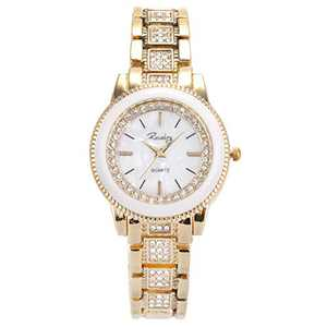 Lady Women Wrist Watch Gold Stainless Steel Crystal SIBOSUN Quartz Dress Bling Bracelet (4 Light-Gold)