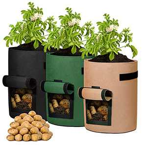 Delxo 3 Pack 7 Gallon Potato Grow Bags, Vegetable 7Gallon Grow Bag with Velcro Window , Double Layer Premium Breathable Nonwoven Cloth for Potato/Plant Container/Aeration Fabric Pots with Handles