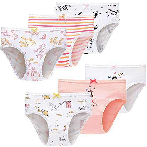 Little Girls Soft Cotton Underwear Cute Breathable Comfort Panties(Pack of 6)