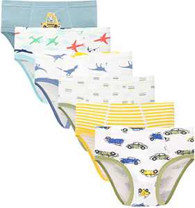 Boys Cars Underwear Toddler Kids Dinosaurs Briefs Soft Cotton Airplane Panties(Pack of 6)
