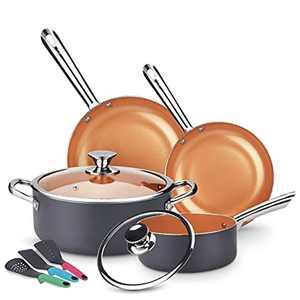 KUTIME Cookware Set 9pcs Non-Sick Pots and Pans Set Ceramic Coating Frying Pan Grill Pan Sauce Pan Stockpot with Lids, Gas, Induction Compatible, Oven Safe