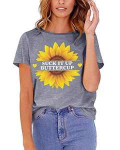 Sunflower Shirt Women Flower Graphic Tees Summer Short Sleeve Casual Tshirt Top Grey