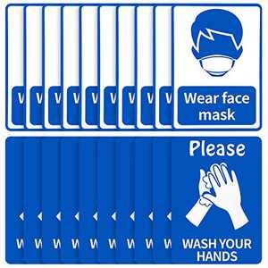 20 Pieces Please Wash Your Hands Stickers Wear Face Cover Notice Sign Removable Notice Warning Sign for Public Places, 7 x 10 Inch