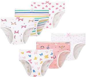 Baby Soft Cotton Underwear Little Girls Briefs Toddler Undies Children Panties(Pack of 6) 2T