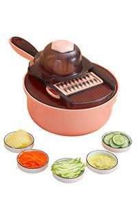 TileMiun Mandoline Slicer Utensil for Kitchen Cheese/Vegetable Slicer Ester with Built-In Blade Storage and Container (Pink-Round)
