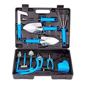 BNCHI Gardening Tools Set,14 Pieces Stainless Steel Garden Hand Tool, Gardening Gifts for Women,Men,Gardener (Blue)