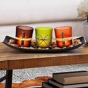 DARJEN Candle Holders Tray Rocks, Home Decor Accents Gift Set, Natual Votive Candlescape Set of 3 Tea Light Natual Stones, Small Coffee Table Decor, Gift for Birthday, Mother's Day, Anniversary