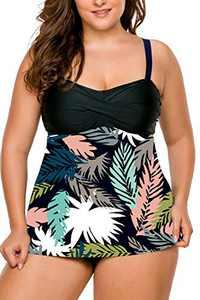 LALAGEN Women's Straps Swimdress Plus Size Two Pieces Tankini Bikini Set Black Flo-5 XXL