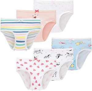 Girls Underwear Toddler Kids Cotton Panties Breathable Comfort Briefs(Pack of 6)