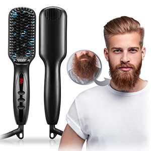 Beard Straightener for Men, RUEOO Ionic Heated Beard Brush with 12 Temp Settings, Fast Heating and Anti-Scald Feature Beard Straightenering Brush, Portable Beard Comb for Home &Travel