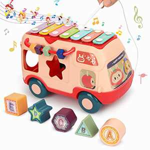 Fansteck Shape Sorter with Five Colorful Shape Blocks, Shape Sorter Toys for Toddlers, Music Bus Modeling with Different Kinds of Music, Educational Toys for Baby to Improve Sound Perception (Pink)