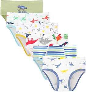 Little Boys Dinosaurs Briefs Toddler Kids Striped Underwear Soft Cotton Airplane Undies(Pack of 6)