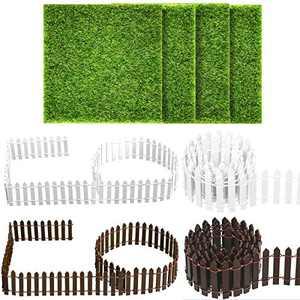 BBTO 8 Pieces Garden Ornament Set, 4 Pieces 35 Inch Miniature Fairy Fence and 6 x 6 Artificial Fairy Garden Grass for Dollhouse Home Garden Plant Pot DIY Diorama Project