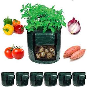 Garden4Ever Potato Planter Bags 6-Pack 7 Gallon Grow Bags Aeration Tomato Plant Pots Container with Flap and Handles