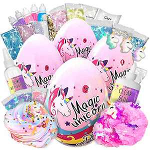 4 Laevo Unicorn Slime Kits for Girls - [4 Pack] ALL-INCLUSIVE Surprise DIY Slime Making Kits with 5 Secrets - Includes Glue, Activator, Add ins - Easter Basket Stuffers for Teens Butter Slime Supplies