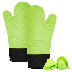SZCLIMAX Professional Silicone Oven Mitts Sets, Heat-Resistant Gloves with Quilted Liner, 2 Mini Pinch Mitts, Green, 1 Pair, 14.7 Inch