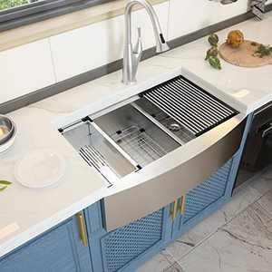 Stainless Steel Farm Sink - GhomeG 33 Inch Farm Sink Apron Front Ledge Workstation Low Divide Double Bowl 60/40 18 Gauge Stainless Steel Kitchen Sink Basin