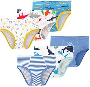 Little Boys Dinosaurs Panties Cotton Underwear Kids Breathable Striped Comfort Briefs(Pack of 6)