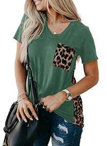 Zecilbo Women V Neck Leopard Print Patchwork Shirt Tops Pocket Short Sleeve Fashion Cute Tee Tunic Green, Small