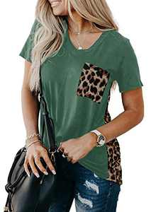Zecilbo Women Patchwork Leopard Print V Neck Shirt Tops for Women Fashion 2021 Cute Loose Tee Tunic with Pocket Green, Large